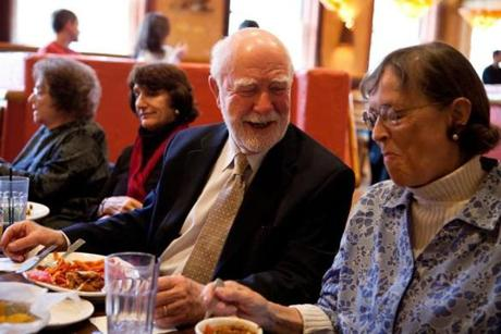 Beacon Hill Village members Roger Cox and Barbara Rappaport during a recent lunch.